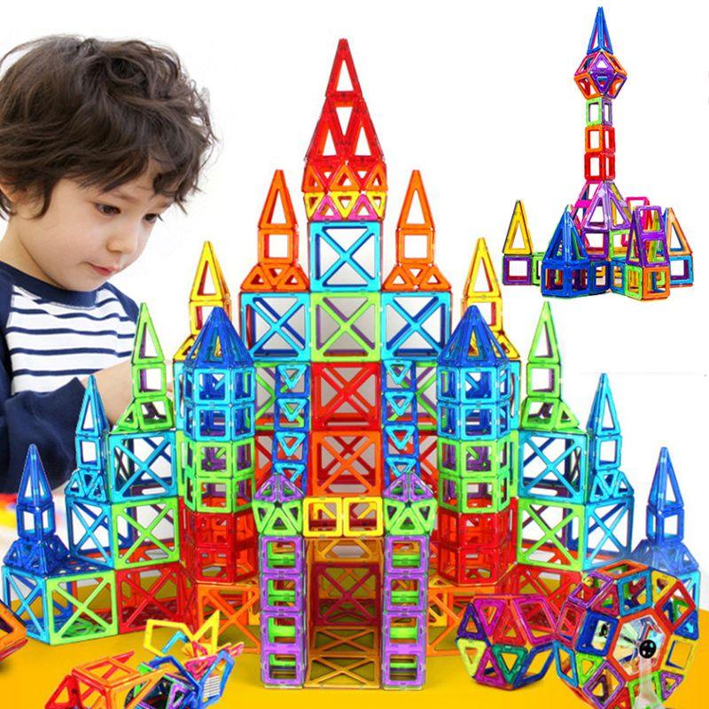 164 pcs-64 pcs Mini Designer Magnétique Jeu De Construction Modèle et Jouet de Bâtiment En Plastique Magnétique Blocs Éducatifs Jouets Pour enfants Cadeau