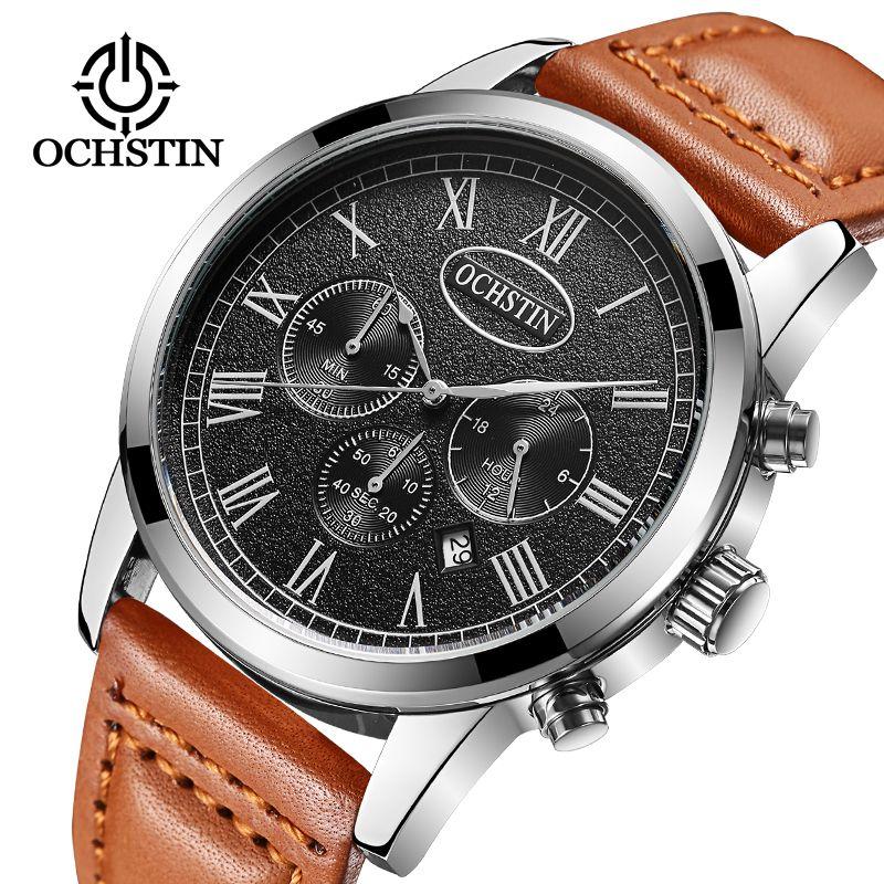 2017 OCHSTIN Brand Analog Quartz Watch Men Waterproof Fashion Casual Sports Watches Man Leather Wristwatches Relogio Masculino