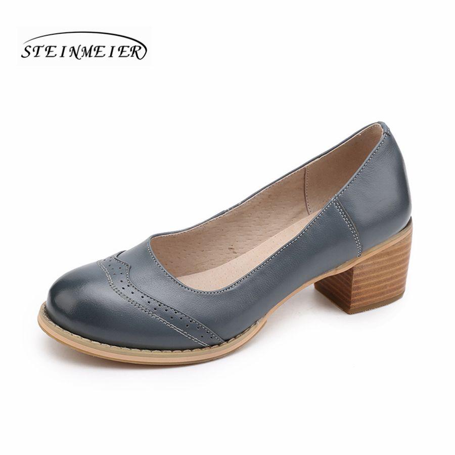 Femmes en cuir véritable chaussures à la main 5 cm talon épais gris bleu noir oxford bout rond pompes 2018 sping chaussures pour femmes
