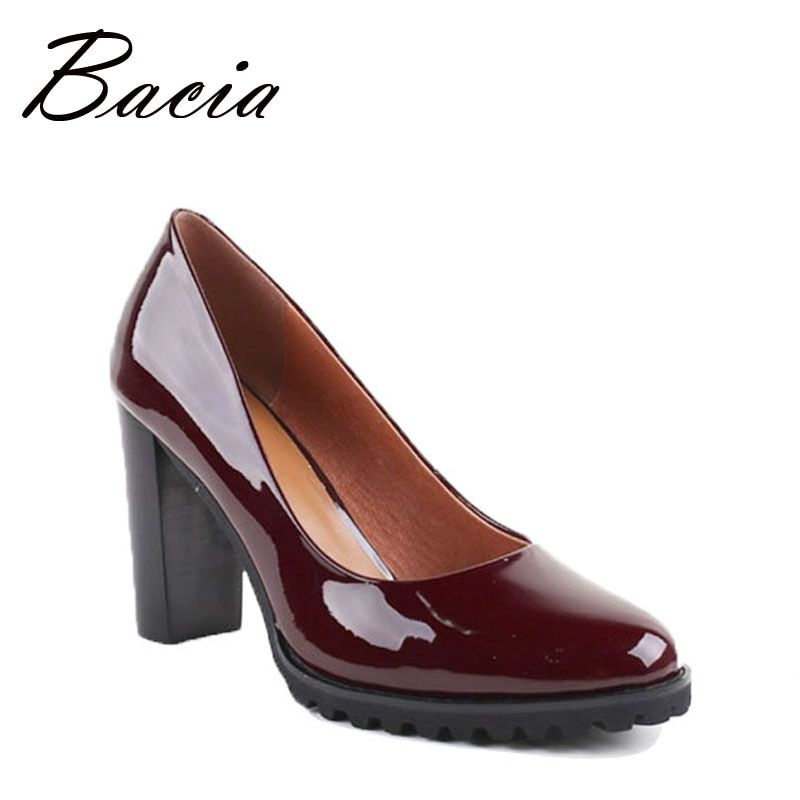 Bacia 100% Genui Leather Pumps Wine Red Handmade Shoes 9cm Heels Office Lady High Quality Cowhide Patent Leather Shoes VB019