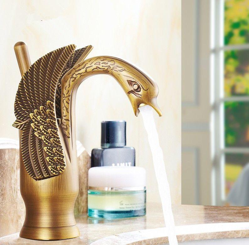 Cygne Art modèle Antique en laiton robinet bain bassin mélangeur/mode salle de bain pont monté eau chaude et froide bassin robinet