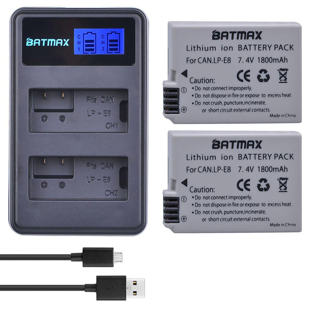 2 pièces 1800 mah LP-E8 LPE8 LP E8 Batterie Batterie AKKU + LCD Double Chargeur pour appareil photo Canon EOS 550D 600D 650D 700D X4 X5 X6i X7i T2i T3i