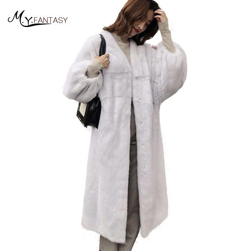 LVCHI 2018 Winter Import Swan Velvet Mink Fur Coat Real Fur Coats Women Deep V-Neck Long Lantern Sleeve X-Long Mink Fur Coats