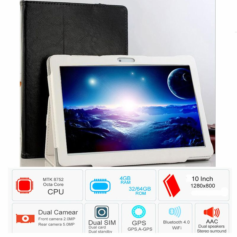 CARBAYTA Octa Core 3G Tablet 4GB RAM 64GB ROM 1920*1200 Dual Cameras 8MP Android 8.0 Tablet 10.1 inch S109 Free Gift Case Cove