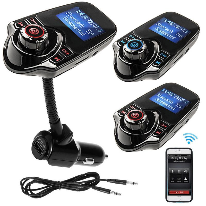 2017 New T10 Handsfree Bluetooth Car Kit MP3 Audio Transmitter FM Transmitter 5V 2.1A USB Car Charger LED Screen Support TF Card