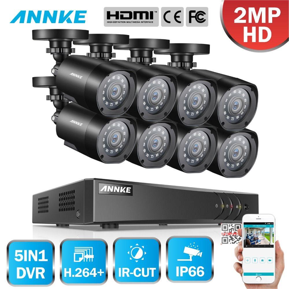 ANNKE 1080 P FHD 5in1 8CH Lite H.264 + DVR 1080 P HD TVI Smart IR Kugel Wetterfeste Kameras Sicherheit überwachung CCTV-System
