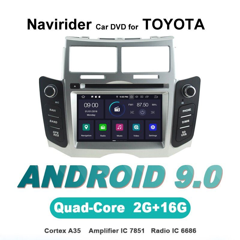 Navirider OS 9,0 Auto Android-Player für TOYOTAYARIS 2011 stereo radio gps navigation bluetooth TDA7851 Verstärker sound System