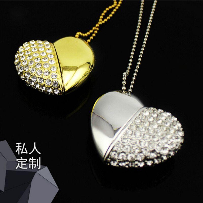stylish gifts 8/16/32GB USB 2.0 Flash Drive diamond Crystal Heart shaped Pendant Pen Drive