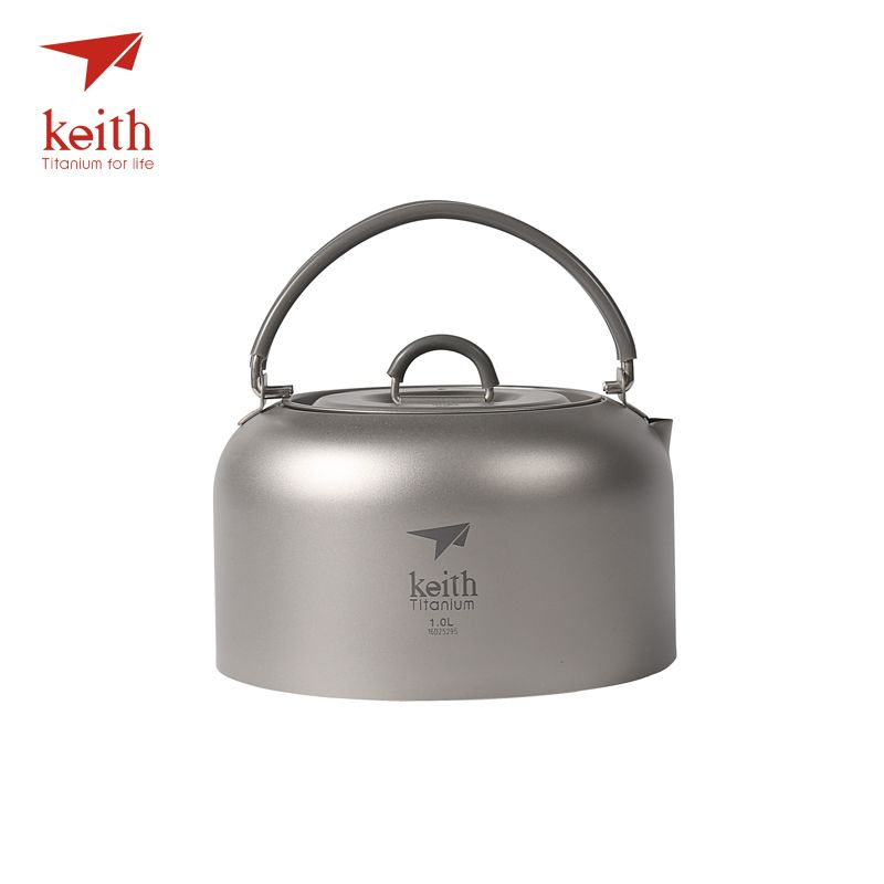 Keith Titanium Outdoor Camping Water Pot With Folding Handle Hiking Travel Picnic Coffee Tea Pot Cookware Utensils 1L 130g