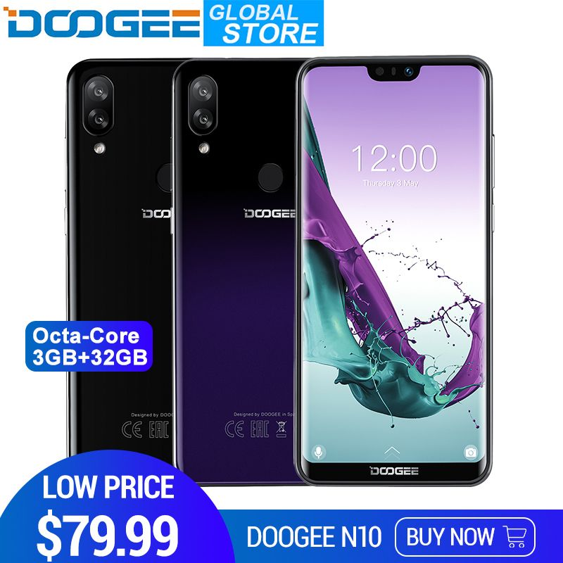 New DOOGEE N10 mobile Phone 16.0MP Front Camera 3360mAh Android 8.1 4GLTE Octa-Core 3GB RAM 32GB ROM 5.84inch FHD+ 19:9 Display