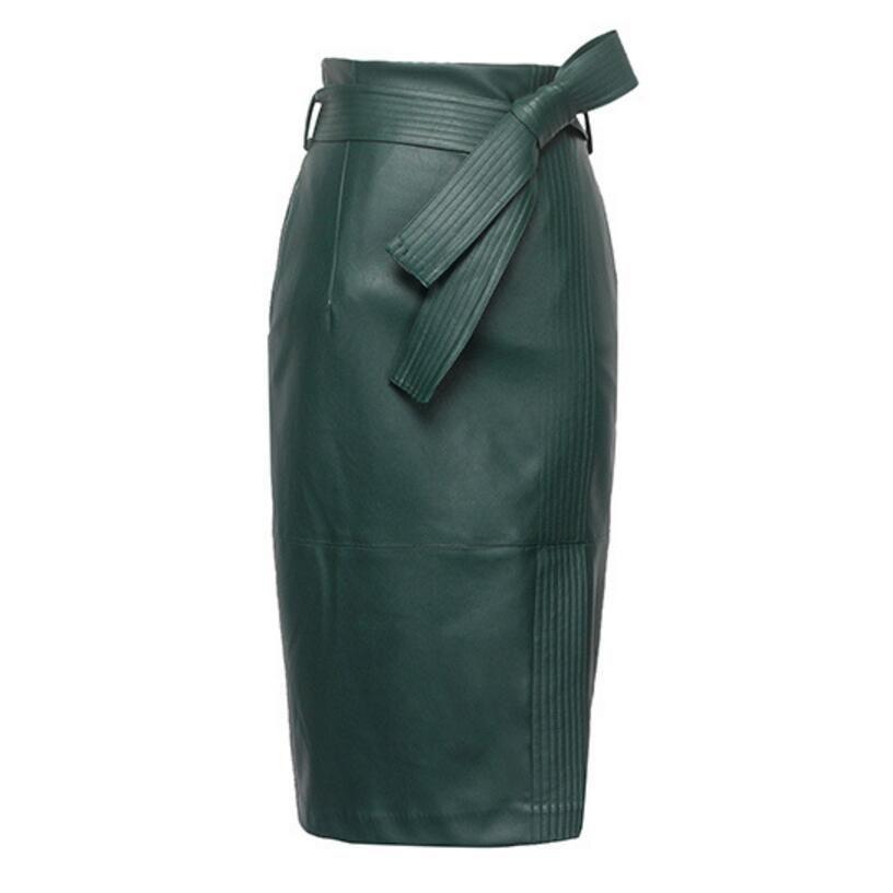 3XL 4XL PU Jupe en cuir Femmes Plus La Taille Automne Hiver Sexy Taille Haute Faux cuir Jupes Femmes Belted Crayon De Mode jupe