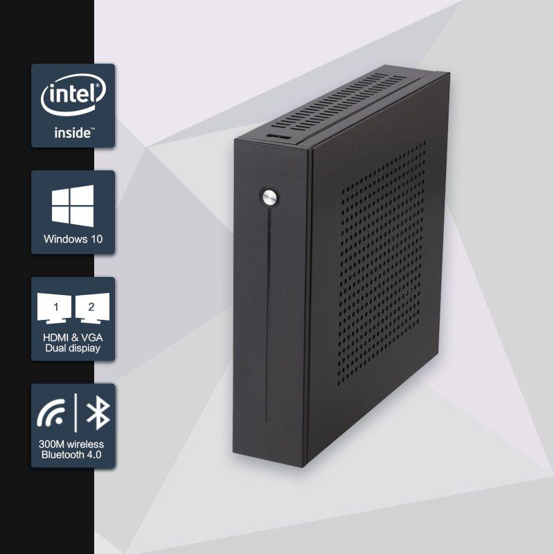 Celeron J1900 Mini PC Quad Core Sans Ventilateur Mini PC avec VGA HDMI Double LAN 2 Port LAN 2 COM soutien Fenêtre 10/Win 7/Linux/Ubuntu