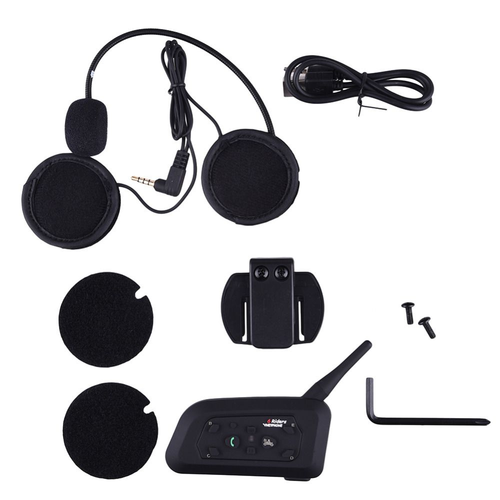 V6 Helmet Intercom 6 Riders 1200M Motorcycle Bluetooth Intercom Headset walkie talkie Helmet BT Interphone