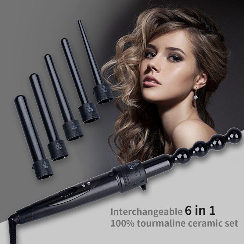 6 en 1 Cheveux Bigoudi Set Curling Wand Spirale Électrique Fer À Friser Machine Conique En Forme de Calebasse Interchangeables Baril 9 MM-32 MM P0