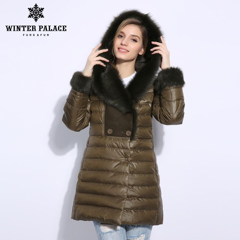2018 Winter long duck down jacket women Real fur collar Fur coat Women's clothing down jacket High-grade