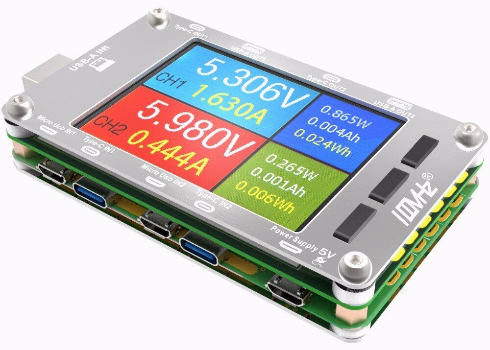 T50N Dual USB Voltage, Current, Power Capacity Meter, Support QC2.0, QC3.0, PD Test