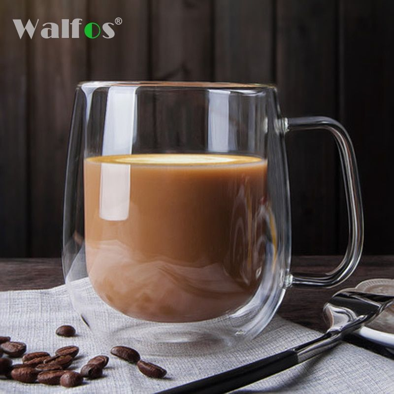 WALFOS Coffee Cups Tea Set Mugs Handmade Creative Beer Drink a Mug of Office Mug Transparent Drinkware Double Glass Cups