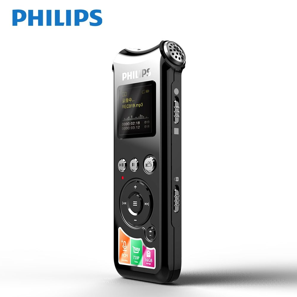 Philips Original Long Distance Voice Recorder Camera Noise Reduction Buil-in 16GB 15 hours Recording Professional