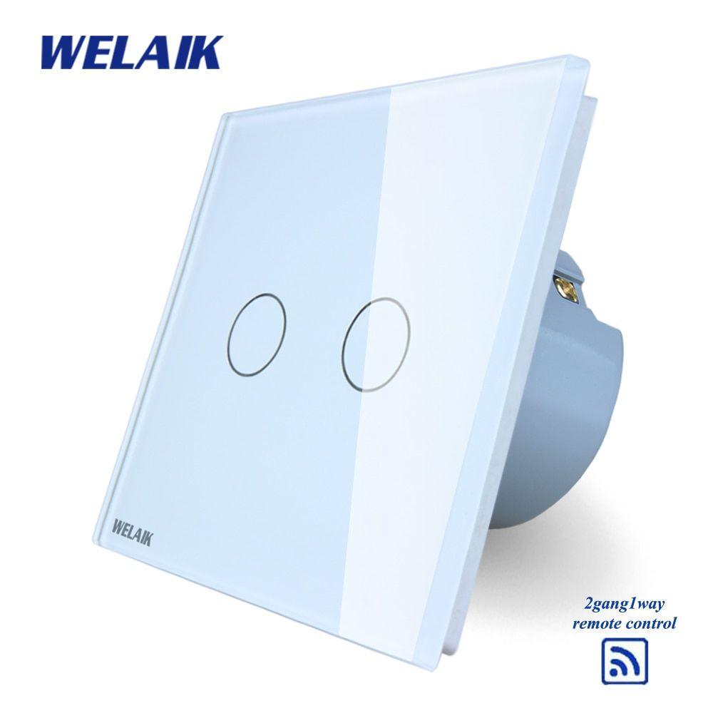 WELAIK Glass Panel Switch White Wall Switch EU remote control Touch Switch Screen Light Switch 2gang1way AC110~250V A1923CW/B