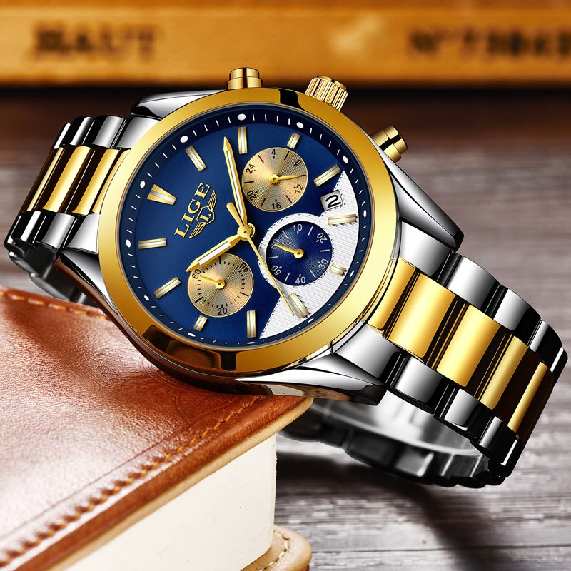 Relogio Masculino LIGE Mens Watch Business Fashion Top Brand Watches Sports Casual Waterproof Stainless Steel Quartz Watch +Box