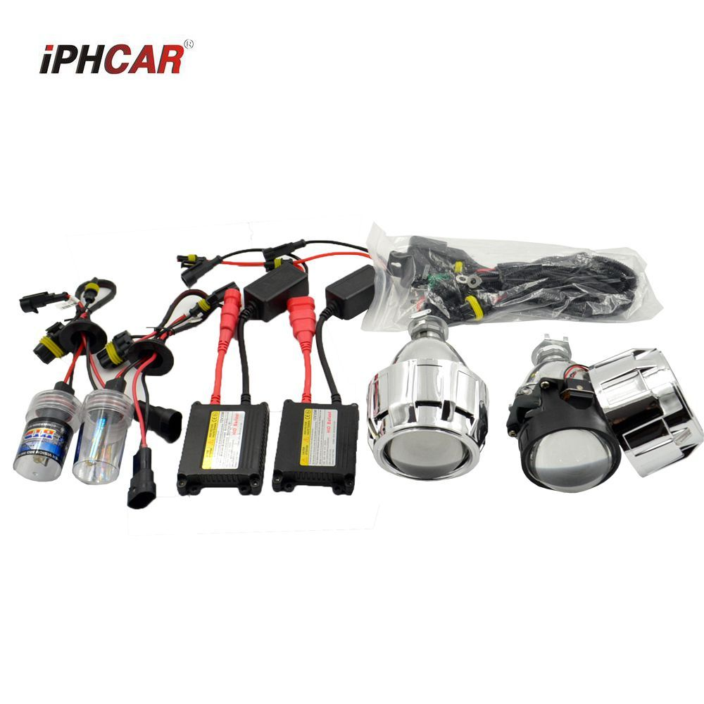 car styling bixenon Projector lens hid xenon kit car assembly kit for H1 H4 H7 xenon model car ac ballast bulb 35w free shipping