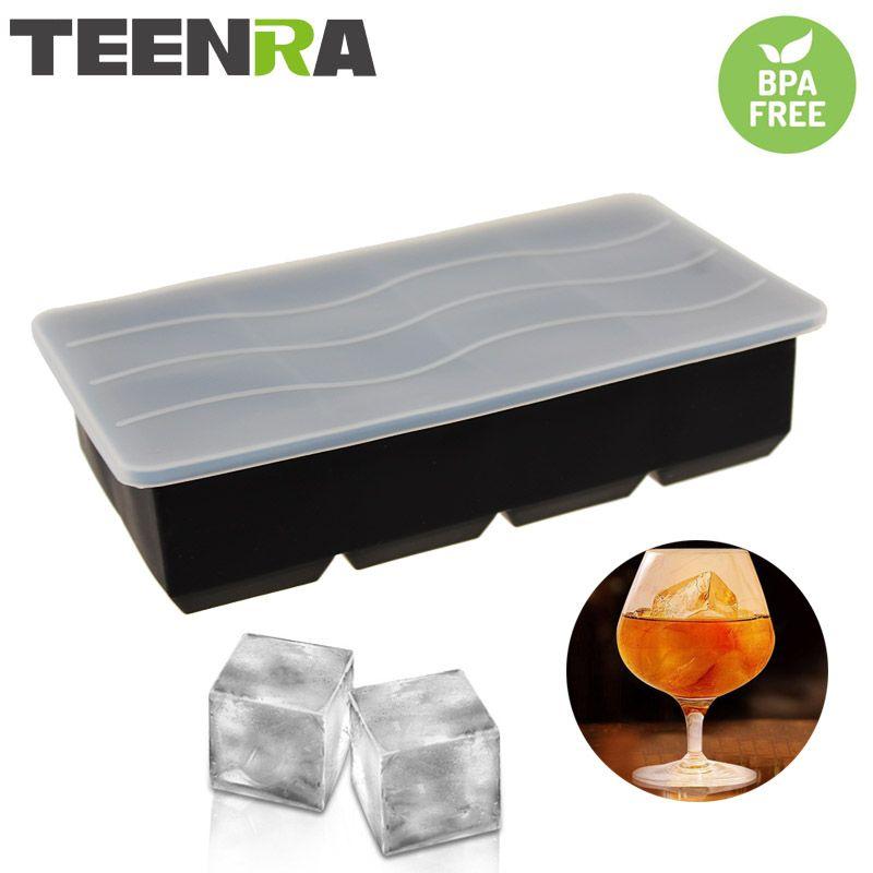 TEENTA noir Silicone moule à glace carré bac à glaçons couvercle 8 trous glaçons fabricant Silicone Cube moule couvercle partie Bar