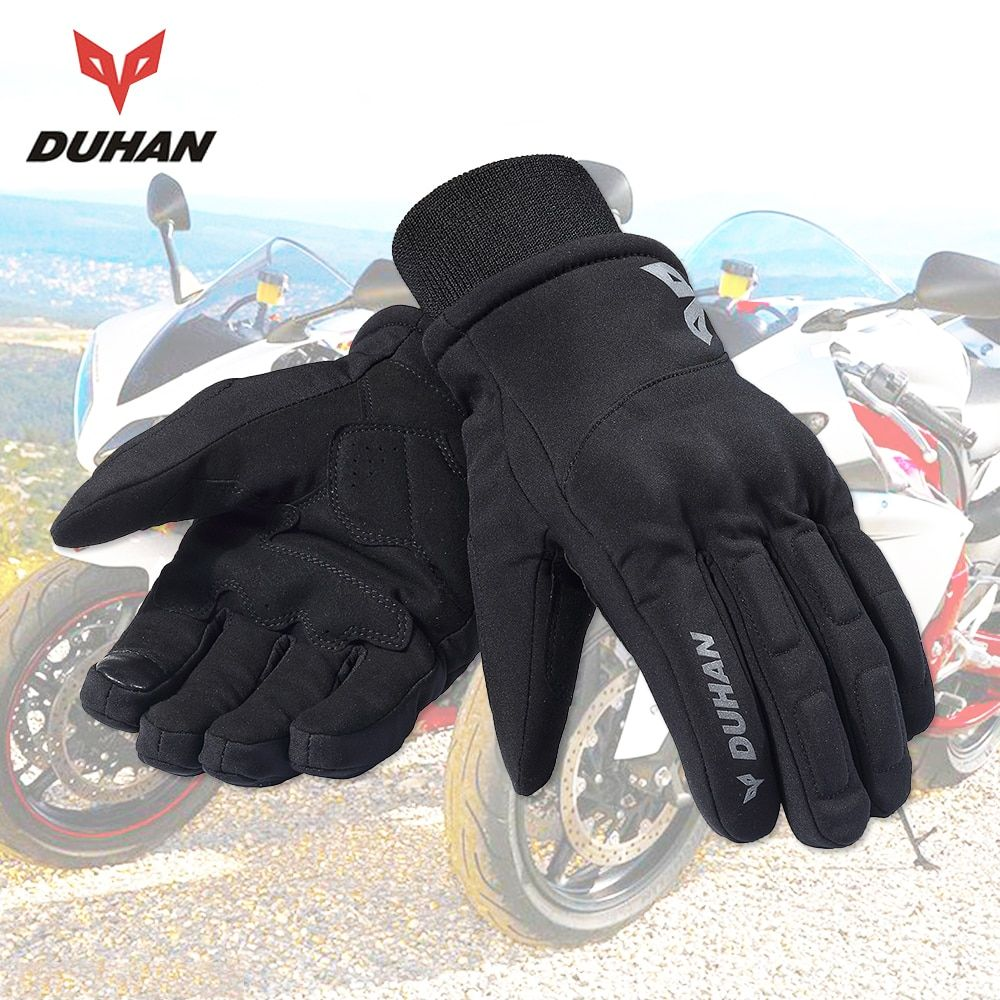 DUHAN Autumn Winter Motorcycle Gloves Men Biker Touch Screen Cold-proof Warm Riding Gloves Moto Guantes Motorbike Glvoes