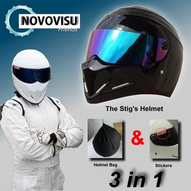 NOVOVISU The STIG Helmet Capacete Casco De & Bag + SIMPSON Sticker For Gifts / Bright Black Helmet + Colorful Visor For Top Gear