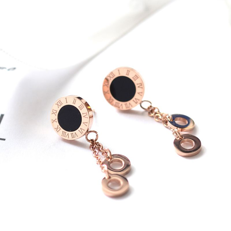 YUN RUO Top Quality 316L Stainless Steel Rose Gold Color White Black Shell Roman Numerals Stud Earrings Woman Jewelry Never Fade