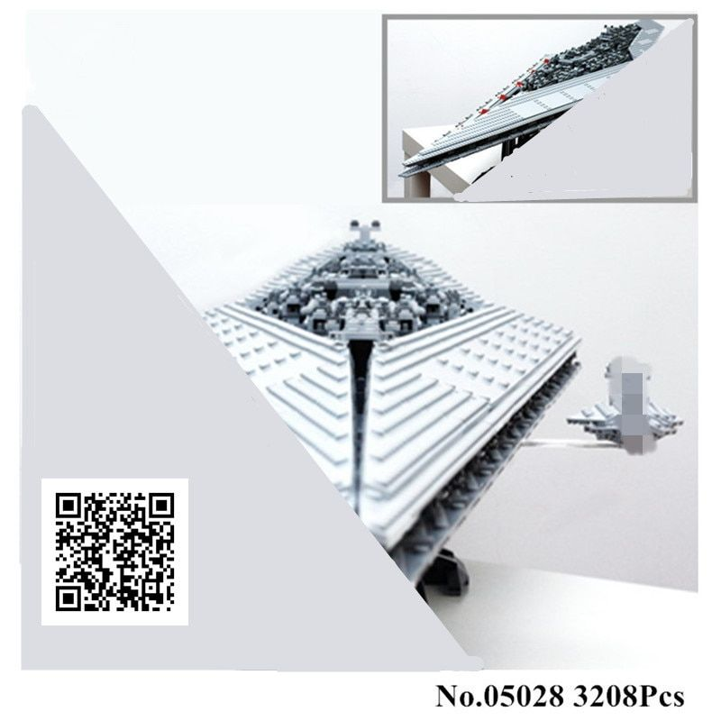 H&HXY IN STOCK 3208PCS 05028 Building Blocks Imperial Star Destroyer LEPIN Model action wars Bricks Toys Compatible 10221