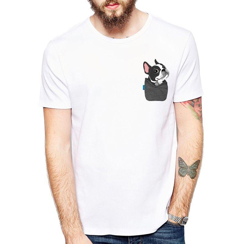 Bulldog français drôle/Boston Terrier/berger allemand/Labrador Retriever/Chihuahua/Yorkie FU T-shirts de poche T-shirts Harajuku