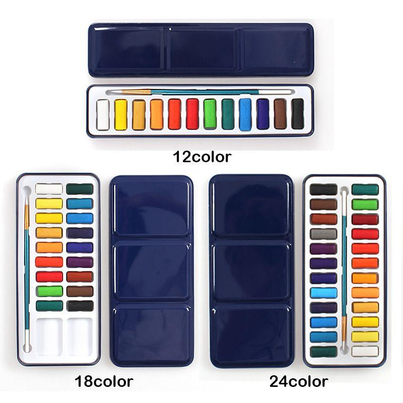 3 Styles Portable boîte en fer blanc solide aquarelle peintures ensemble pour artiste école étudiant en plein air couleur de l'eau croquis peinture papeterie