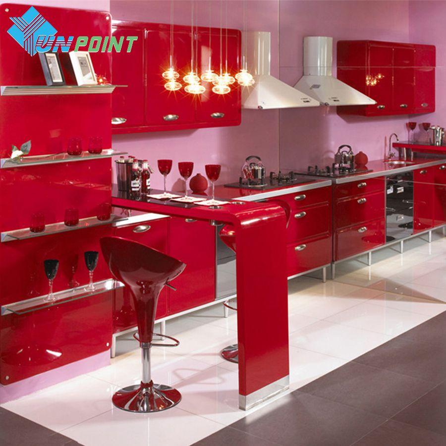 Nouveau rouge peinture imperméable à l'eau bricolage Film décoratif PVC vinyle auto-adhésif papier peint armoires de cuisine meubles mur autocollant décor à la maison