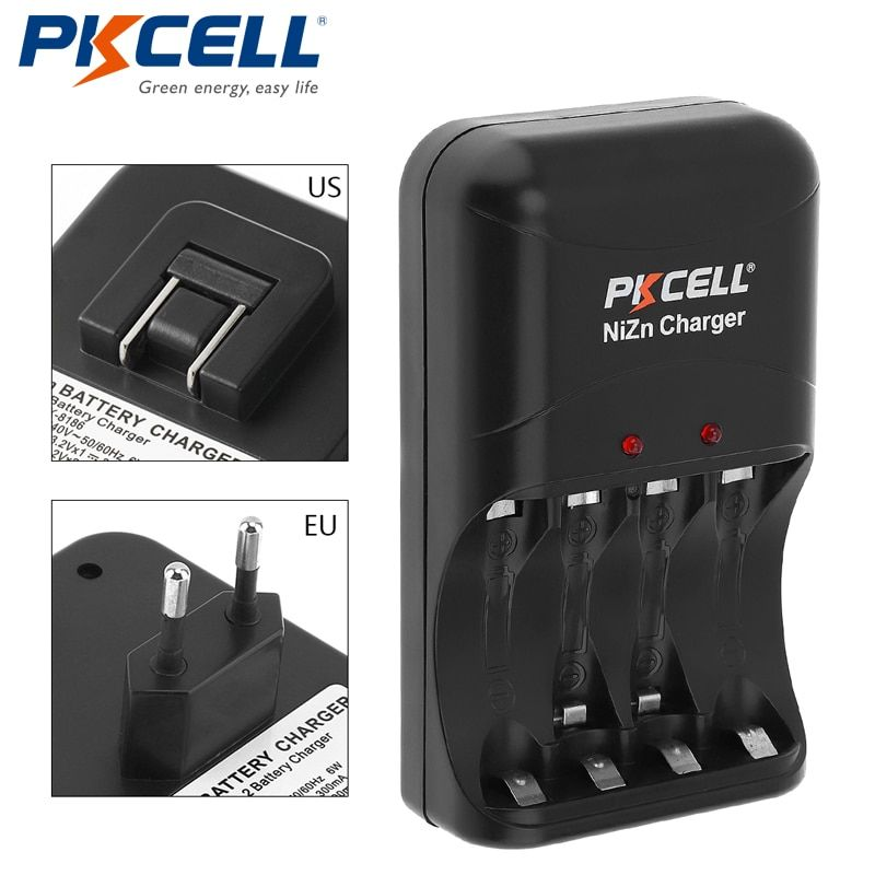 1 paquet * chargeur de batterie PKCELL ni-zn AA/AAA chargeur de prise ue/US uniquement pour Batteries rechargeables ni-zn AA/AAA