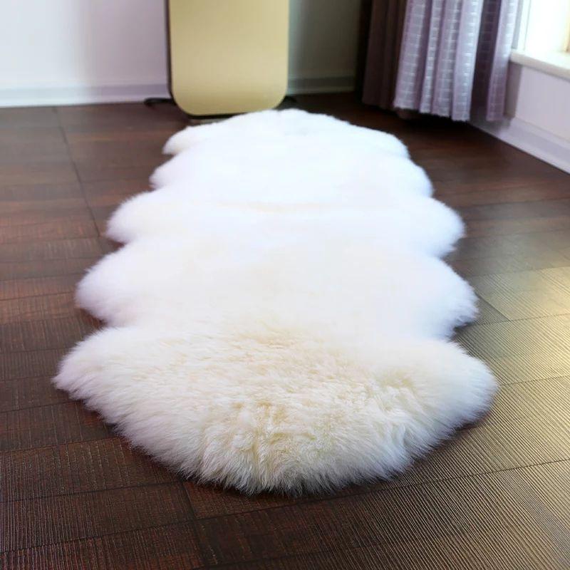 Véritable peau de mouton peau de mouton fait à la main Beige blanc Premium Shag tapis, 4 couleurs shaggy peau de mouton tapis de fourrure pour la décoration de la maison