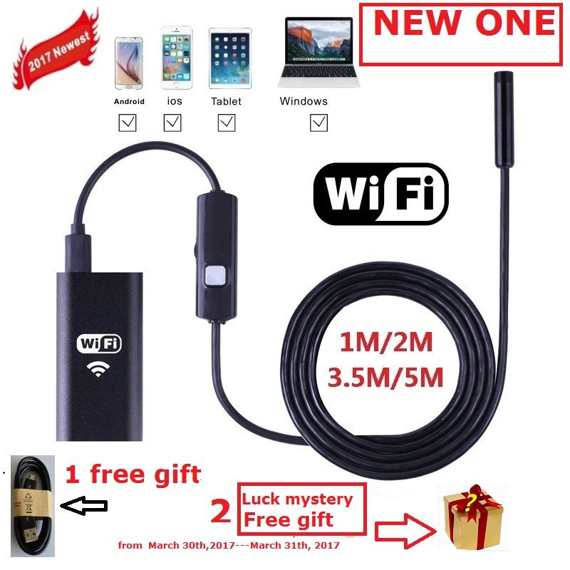 Zjuxin WiFi Endoscope 8mm Objectif 1 M 2 M 3.5 M 5 M câble iphone endoscope caméra IOS android avec 6 led mini wifi endoscope