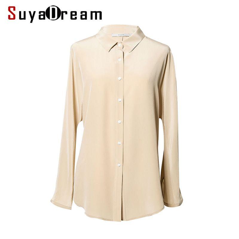 Women SILK SHIRT 100%Natural silk Long Bat sleeved casual Shirt 2017 Fall Winter New Office Lady Top shirt Khaki