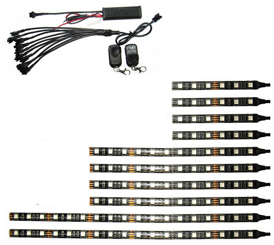 LDDCZENGHUITEC 5050SMD LED Car Motorcycle Glow Lights Flexible Neon Strips Kit Chopper Frame With Remote Controller Multi Color