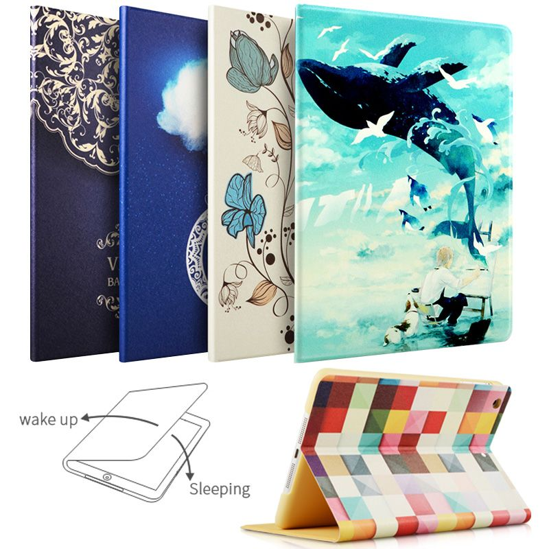 For New 2017 2018 iPad 9.7 inch Air 1/ 2, ZVRUA Painting Series with Auto Wake Up/Sleep Function Stand Smart Cover