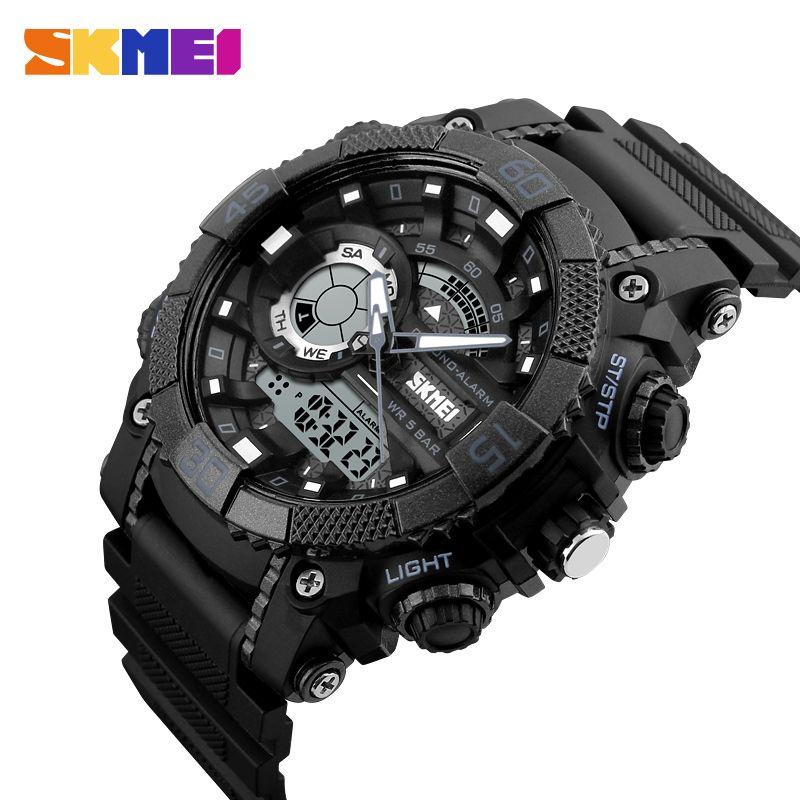 SKMEI Fashion Dial Outdoor <font><b>Sports</b></font> Watches Men Electronic Quartz Digital Watch 50M Waterproof Wristwatches Relogio Masculino 1228