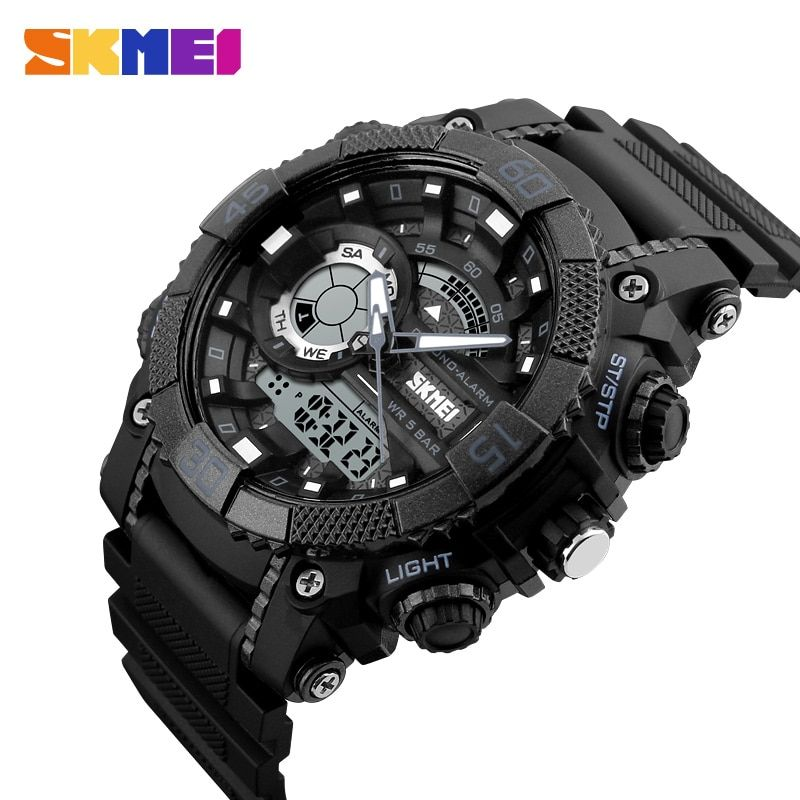 SKMEI Fashion Dial <font><b>Outdoor</b></font> Sports Watches Men Electronic Quartz Digital Watch 50M Waterproof Wristwatches Relogio Masculino 1228