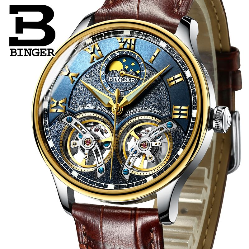 2017 New Mechanical Men Watches Binger <font><b>Role</b></font> Luxury Brand Skeleton Wrist Sapphire Waterproof Watch Men Clock Male reloj hombre