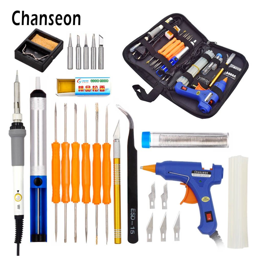 Chanseon EU 220v 60w DIY Adjustable Temperature Electric Soldering Iron Welding Kit 20W Glue Gun Repair Carving Knife Tool Tin