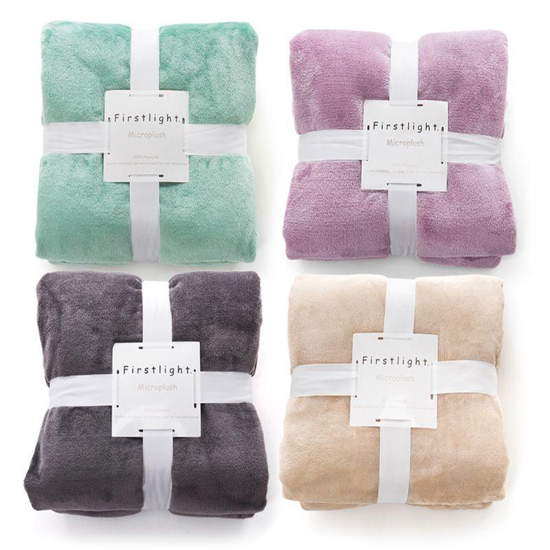 Flanelle polaire jeter couverture en peluche doux chaud solide Manta Cobertor Chusta voyage bureau maison petite couverture pour canapé-lit canapé