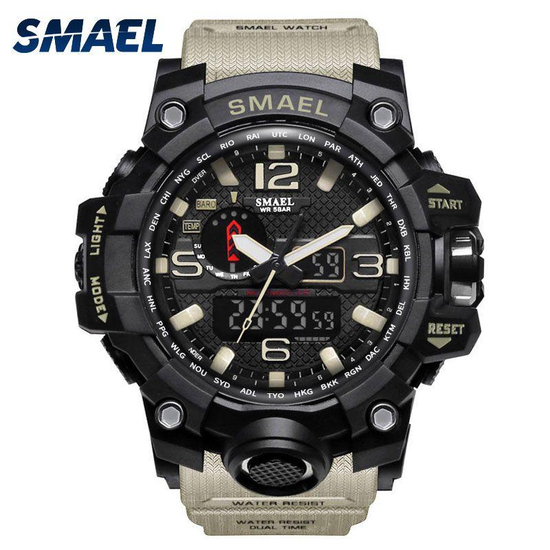 Мужчины Военные часы 50 м водонепроницаемые наручные часы LED кварцевые часы спортивные часы мужской relogios masculino 1545 Спорт с током часы мужские