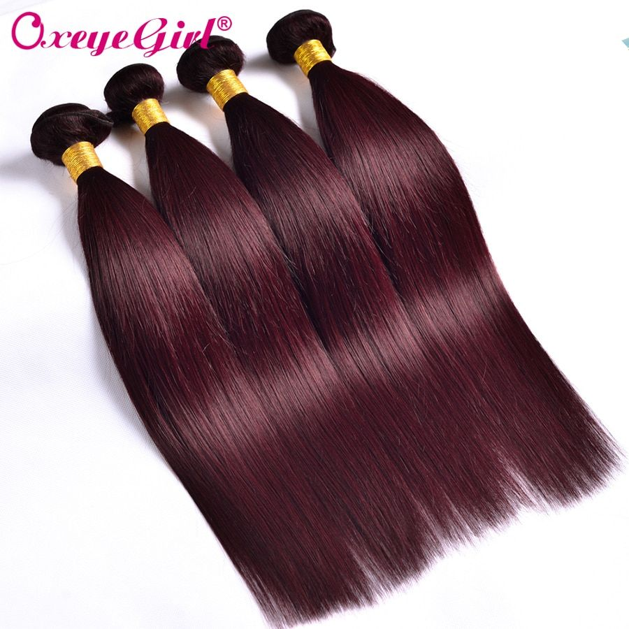 Bourgogne paquets cheveux brésiliens armure paquets cheveux raides paquets 99J rouge bourgogne cheveux humains paquets Non Remy cheveux colorés