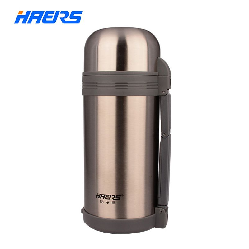 Haers 1200ml Wide Mouth Thermos With Hand <font><b>Grip</b></font> Vacuum Bottle Double Stainless Steel Insulated Thermos HG-1200-1