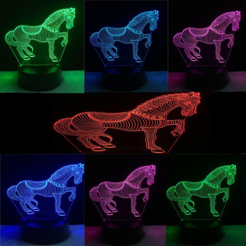Nuevo animal caballo 3D USB Led lámpara 7 color flash china estilo cebra decoración dormitorio innovador gadget Accesorios luz de la noche