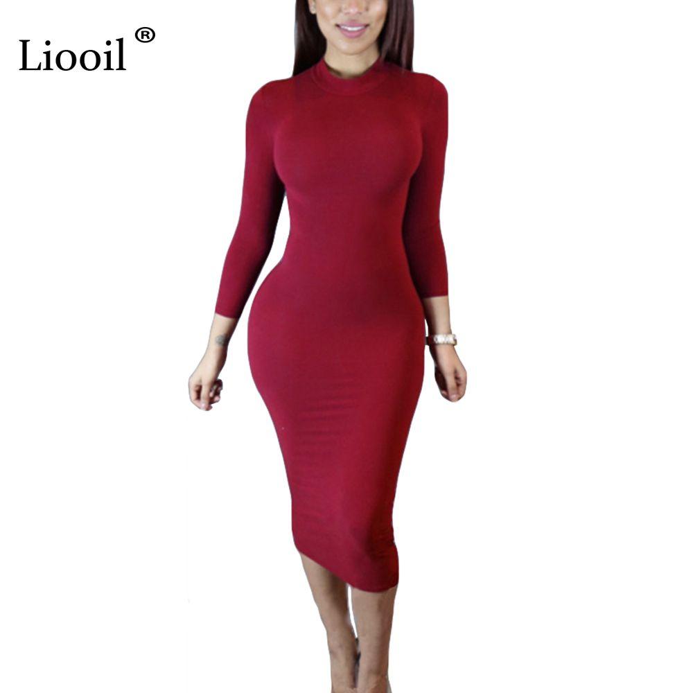 Liooil 2019 Printemps Robe Col Roulé à manches longues vin noir Rouge Midi Moulante Robes De Mode D'hiver grande taille Vêtements Pour Femmes