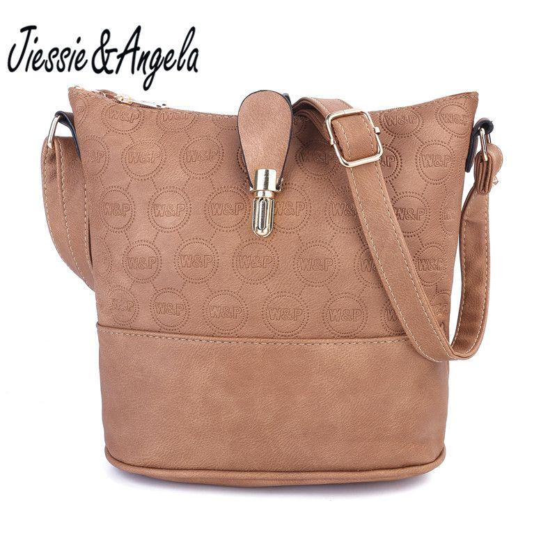 Jiessie&Angela New Cross Body Women Bag Leather Handbags Vintage Shoulder Bags Fashion Messenger Bag Bolsas Femininas